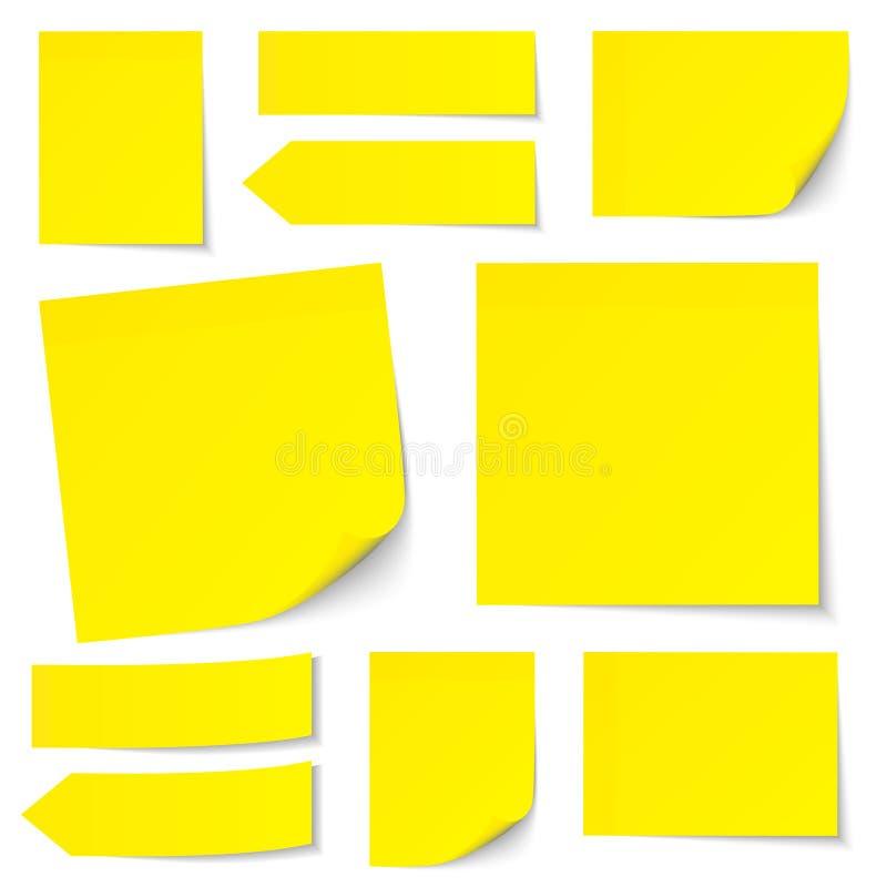 Stellen Sie von den gelben Stock-Anmerkungen ein stock abbildung