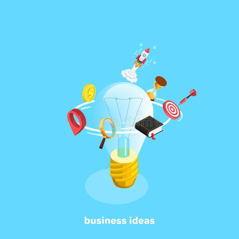 Stellen Sie von den Geschäftsikonen um eine Glühlampe und eine Rakete ein vektor abbildung