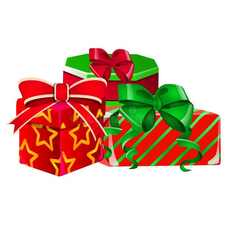 Stellen Sie von den Geschenkboxen mit einem grünen und roten Band mit Bowknot mit eingewickelter roter Farbe des Papiers mit eine lizenzfreie abbildung