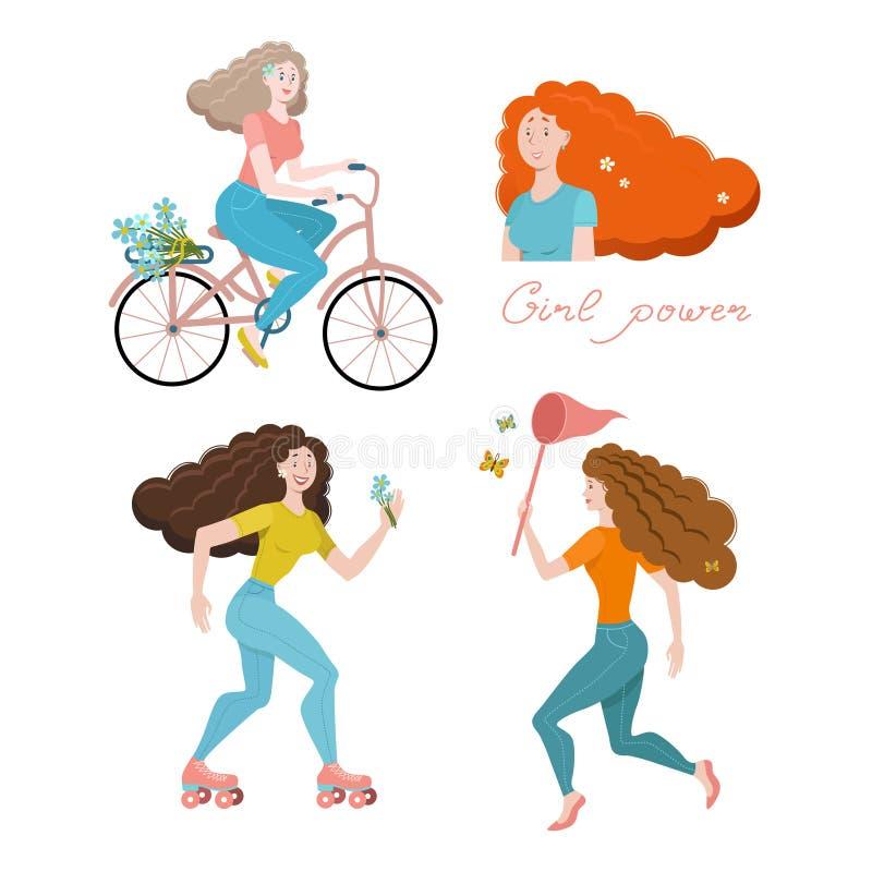 Stellen Sie von den glücklichen Frauen, die flache Vektorillustration ein, die auf weißem Hintergrund lokalisiert wird Körperposi stock abbildung