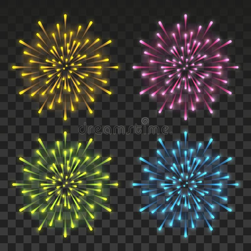 Stellen Sie von den glänzenden Farbfeuerwerken auf transparentem Hintergrund für Ihren Feiertagsentwurf ein vektor abbildung