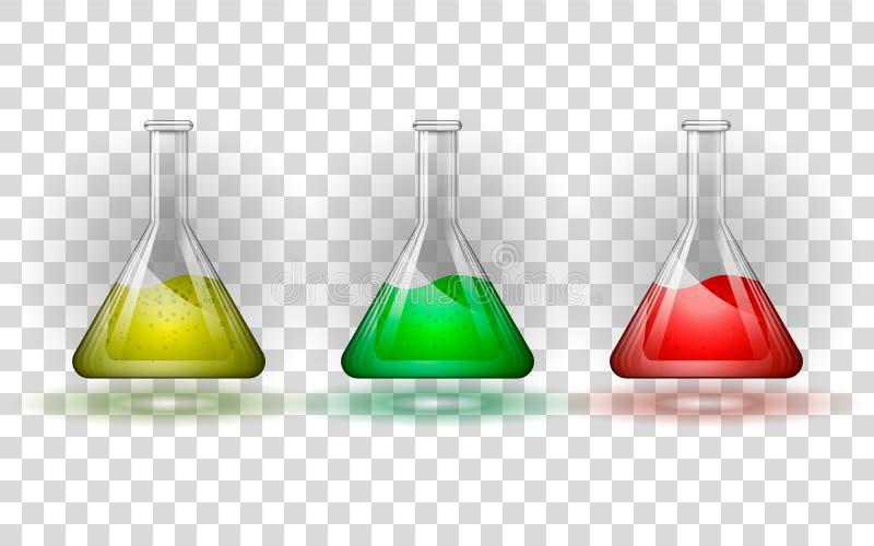 Stellen Sie von den Glasflaschen mit einer mehrfarbigen Flüssigkeit ein auf einem transparenten Hintergrund vektor abbildung