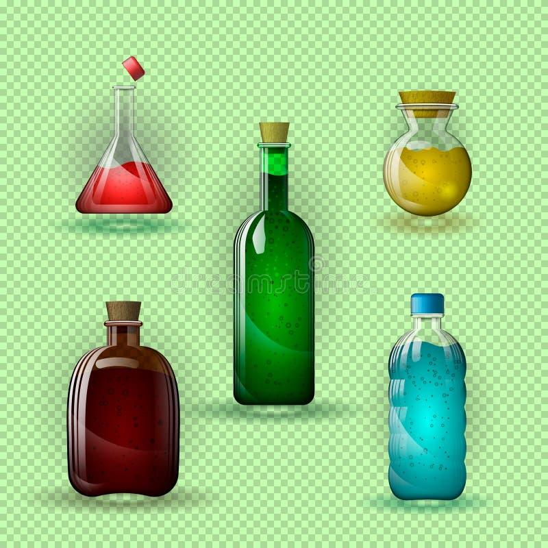 Stellen Sie von den Glasflaschen und von den Flaschen mit einer mehrfarbigen Flüssigkeit ein auf einem transparenten Hintergrund lizenzfreie abbildung