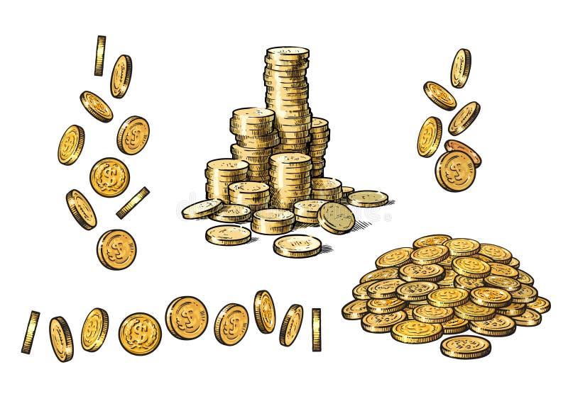 Stellen Sie von den Goldmünzen in den verschiedenen Positionen in der Skizzenart ein Fallende Dollar, Stapel des Bargeldes, Stape vektor abbildung