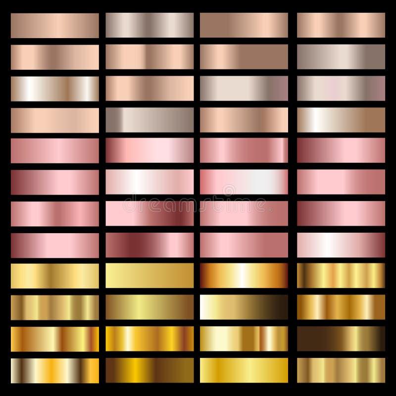Stellen Sie von den Goldrosen-, -bronze-, -silber- und -goldfolienbeschaffenheiten ein Vektor stock abbildung