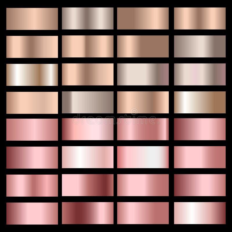 Stellen Sie von den Goldrosen-, -bronze-, -silber- und -goldfolienbeschaffenheiten ein Vektor lizenzfreie abbildung