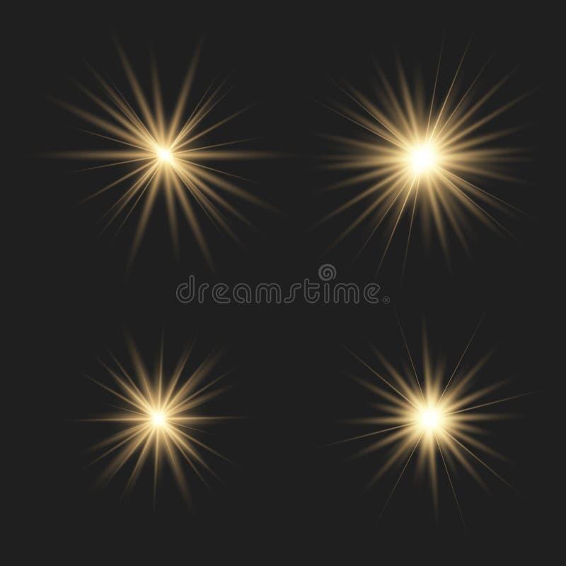 Stellen Sie von den Goldschönen Sternen ein vektor abbildung