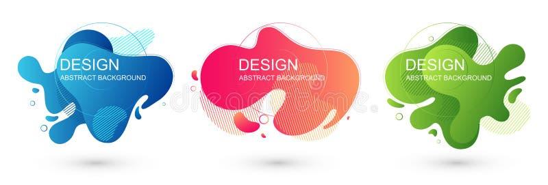 Stellen Sie von den grafischen Elementen der abstrakten flüssigen Form ein Flüssiger Entwurf der bunten Steigung Schablone für Da stock abbildung