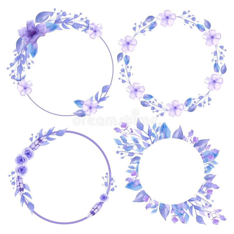 Stellen Sie von den grauen Kr?nzen und von den Rahmen ein Blumenkr?nze f?r Dekorations- und Einladungskarten Handgemachtes Aquare stock abbildung