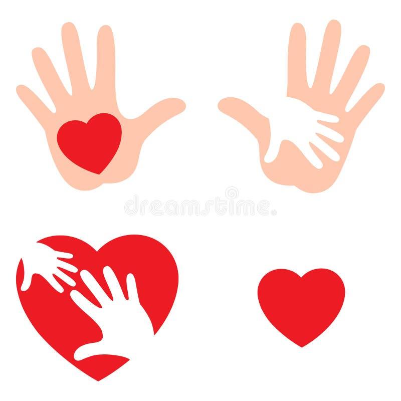 Stellen Sie von den Händen ein, die Liebe mit Herzen, Herz auf der offenen Palme anheben lizenzfreie abbildung