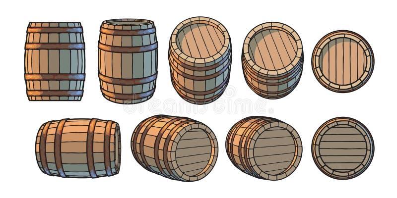 Stellen Sie von den hölzernen Fässern in den verschiedenen Positionen ein Front und Seitenansicht, an den verschiedenen Winkel Ve vektor abbildung