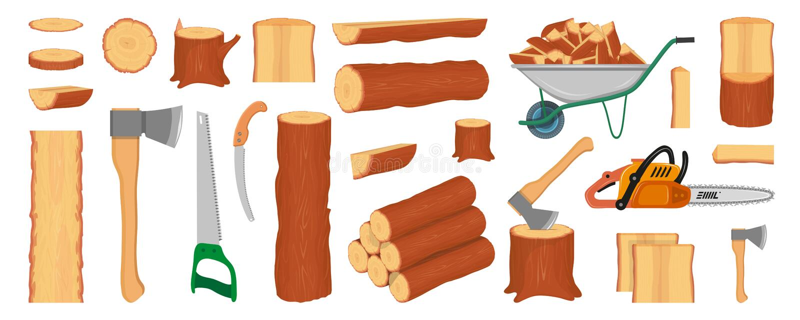 Stellen Sie von den h?lzernen Klotz, von den St?mmen, vom Stumpf und von den Planken ein Holzf?ller- oder Holzf?llerwerkzeuge for stock abbildung