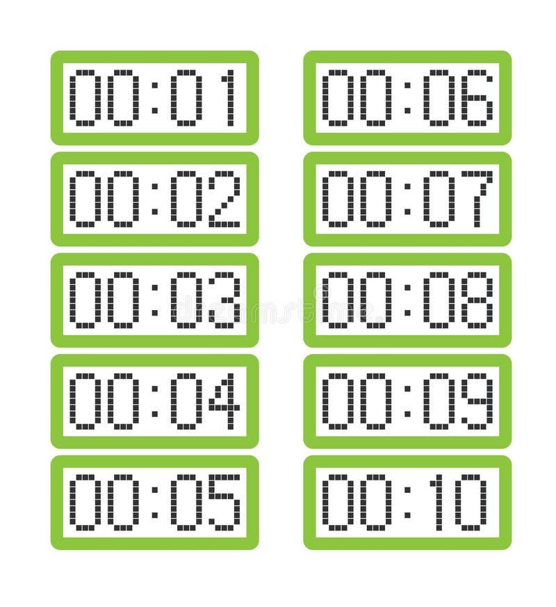 Stellen Sie von den hellgrünen Digitaluhren ein, die von eine Minute bis zehn Minuten zeigen vektor abbildung