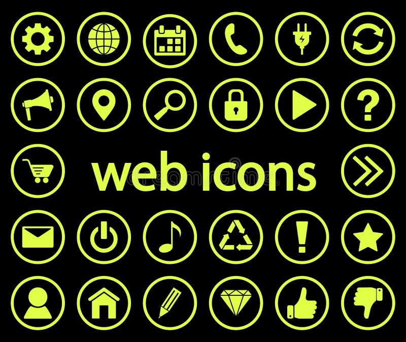 Stellen Sie von den hellgrünen runden Netzikonen auf schwarzem Hintergrund ein Vektor lizenzfreie abbildung