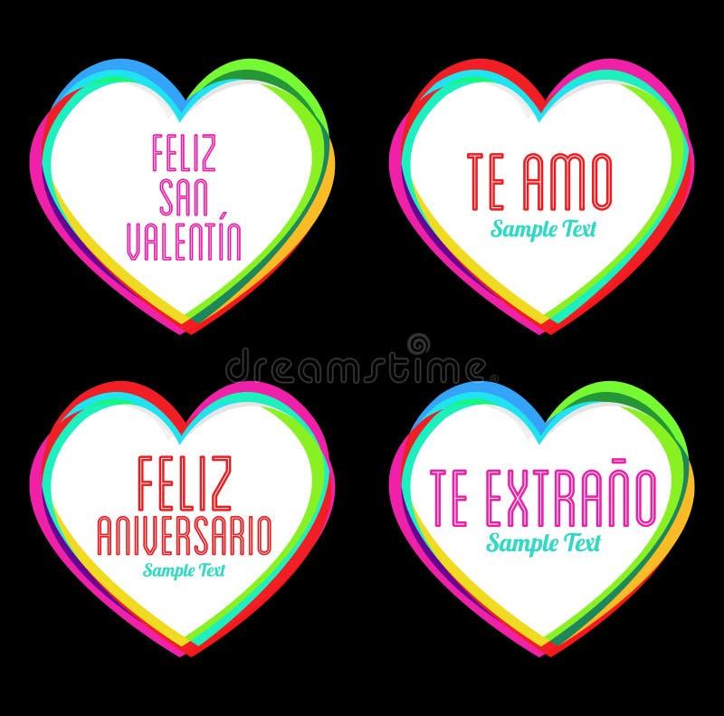 Stellen Sie von den Herzen und von den Liebes-Mitteilungen in spanischem, in idealem für Feiern, Hochzeits- und Valentinsgrußtag  lizenzfreie abbildung