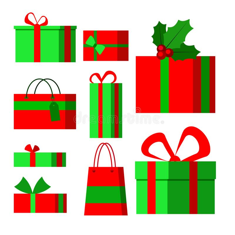 Stellen Sie von den Ikonen in der flachen Art der Karikatur für Weihnachten auf einem weißen Hintergrund ein stock abbildung