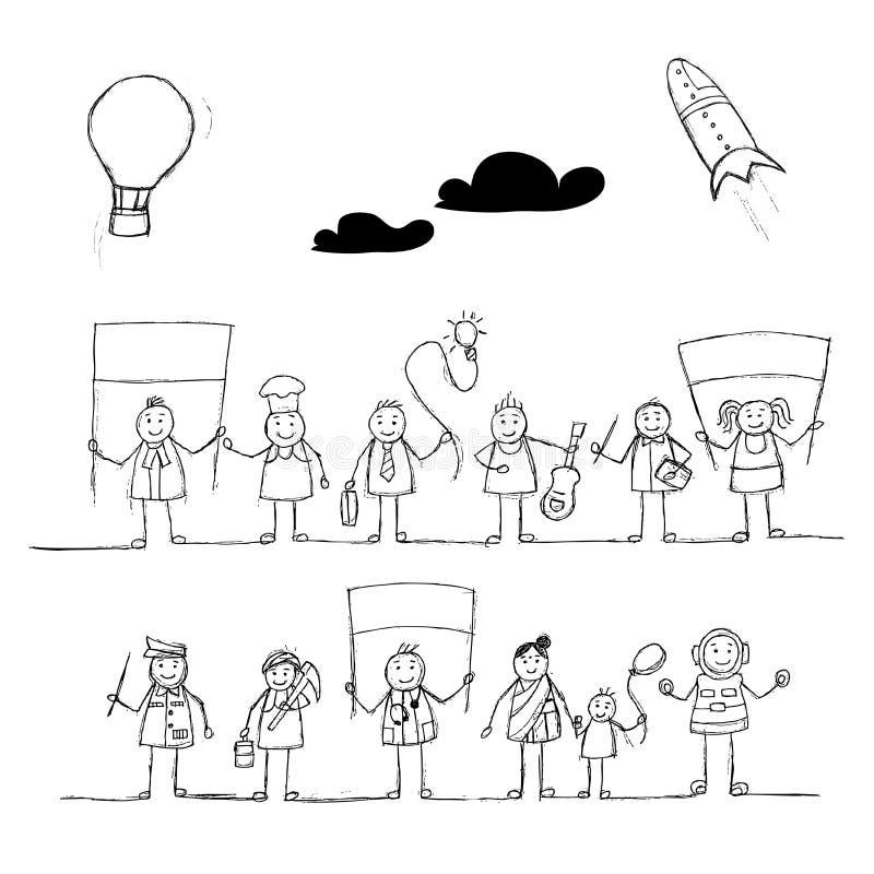 Stellen Sie von den Ikonen von Mädchen- u. Jungencharakteren in der Berufskleidung mit einem Stewardess-Polizeibeamtin-PA des Dok stock abbildung
