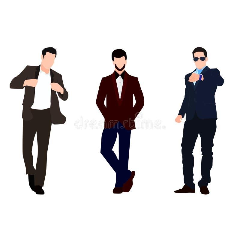 Stellen Sie von den jungen Geschäftsmännern in einer formellen Kleidung ein stock abbildung