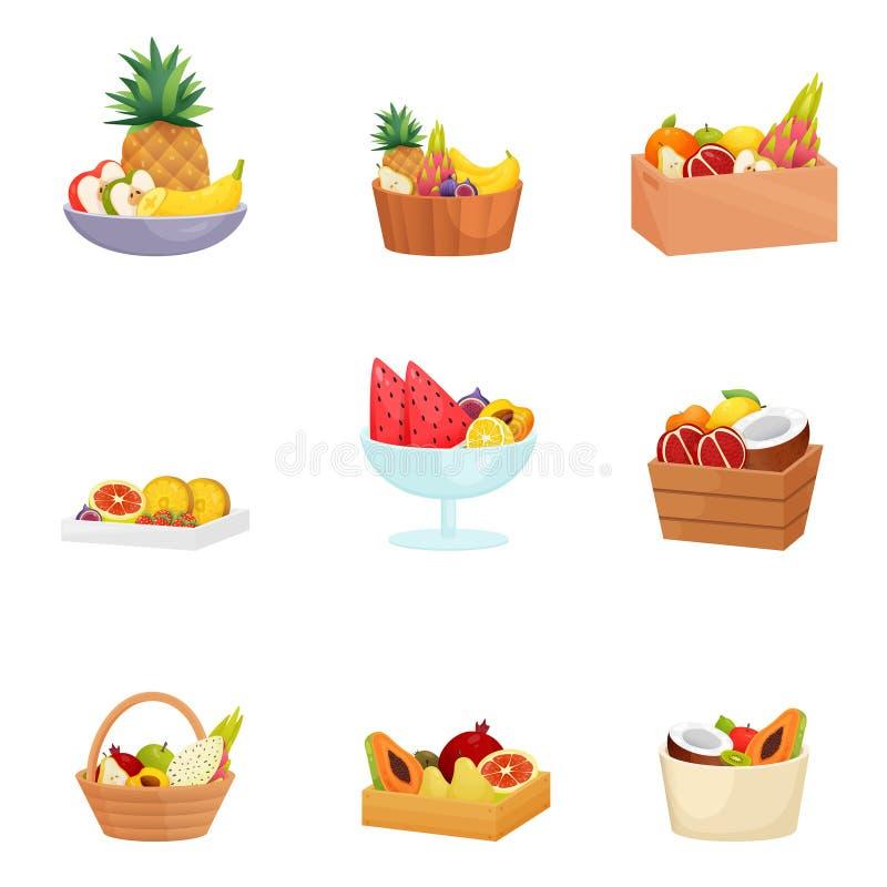 Stellen Sie von den Körben, Schüsseln, Teller, Vasen mit verschiedenen Früchten über weißem Hintergrund ein stock abbildung