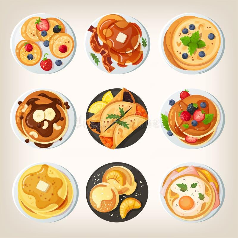 Stellen Sie von den köstlichen Pfannkuchentellern ein Ansicht von oben stockfotografie