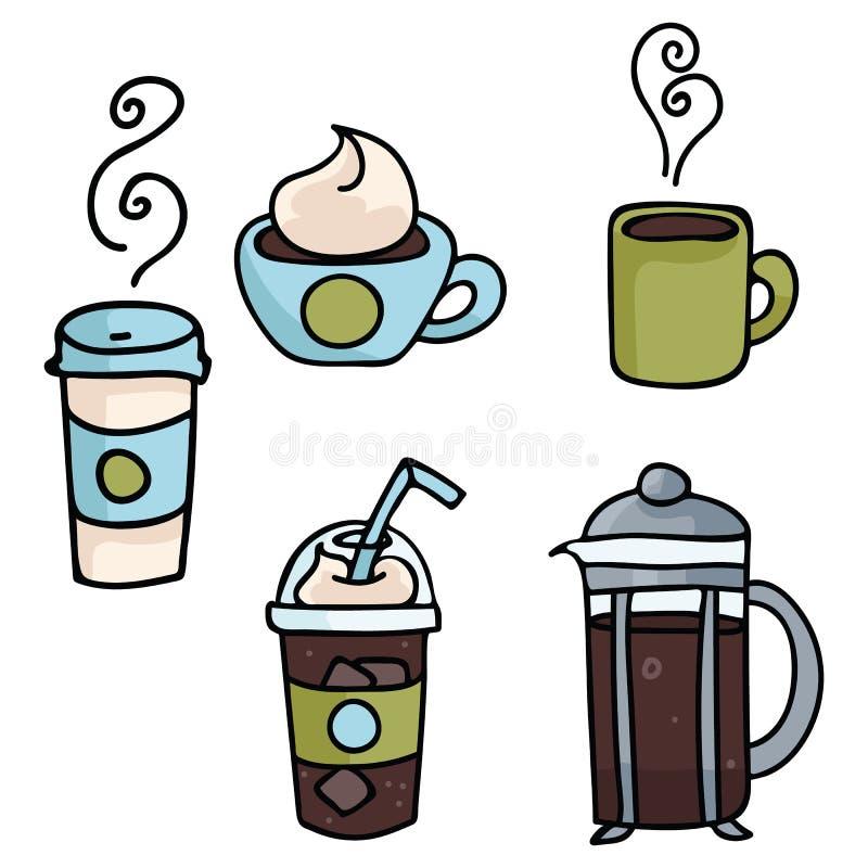 Stellen Sie von den Kaffee Vektor-Illustrationen ein Verschiedene Kaffeearten Sammlung vektor abbildung