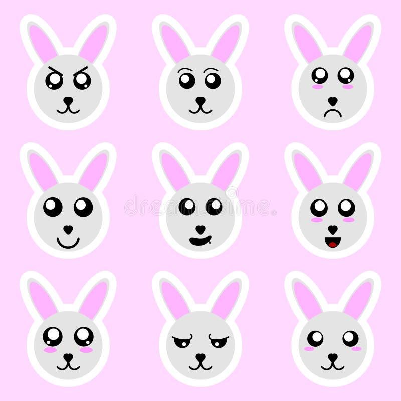 Stellen Sie von den Kaninchenaufklebern ein Verschiedene Gefühle, Ausdrücke Aufkleber in der Animeart Vektorabbildung für Ihr des lizenzfreie abbildung