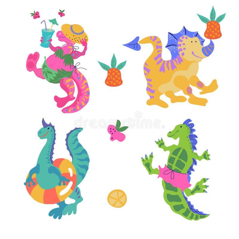 Stellen Sie von den Karikaturdinosauriern ein, die kleine lustige lokalisierte Monsterillustration lizenzfreie abbildung
