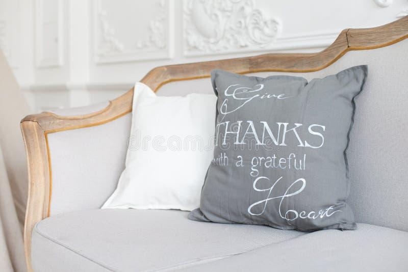 Stellen Sie von den Kissen auf klassischem Sofa im modernen Wohnzimmerinnenraum ein lizenzfreie stockfotos