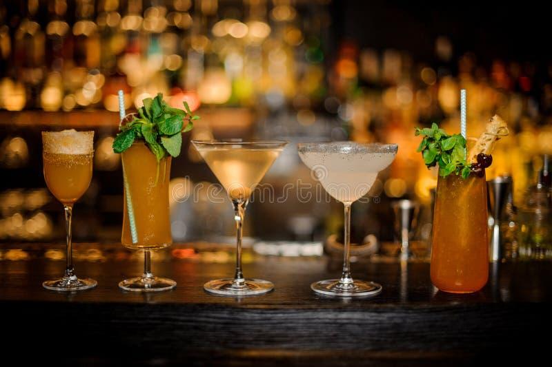 Stellen Sie von den klassischen Cocktails ein: Schmutziger Martini-, Sherry Cobbler-, Brandy Crusta-, Margarita- und Kobra-Reißza stockbild