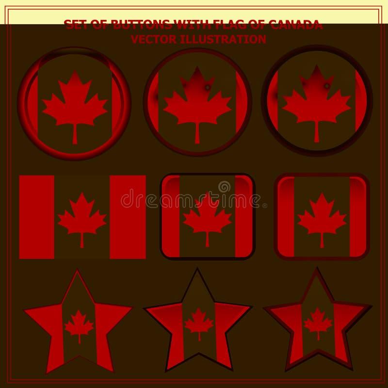 Stellen Sie von den Knöpfen mit Flagge von Kanada ein Vektor lizenzfreie abbildung