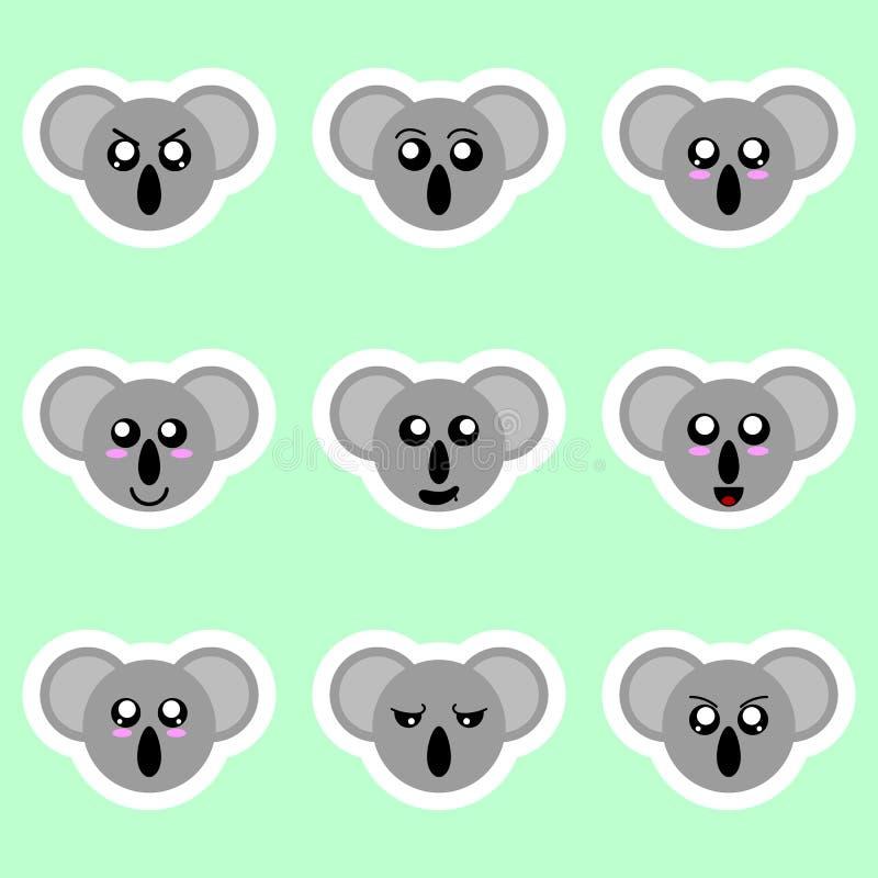 Stellen Sie von den Koalaaufklebern ein Verschiedene Gefühle, Ausdrücke Aufkleber in der Animeart Vektorabbildung für Ihr design stock abbildung