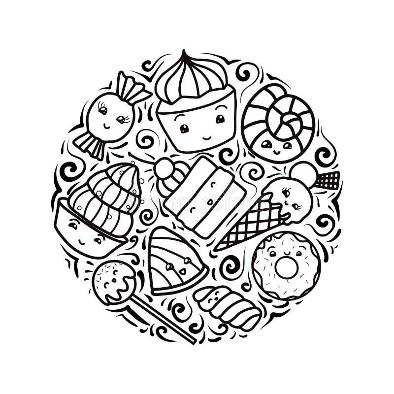 Stellen Sie von den Konturnkinderillustrationen von netten, kawai Bonbons und von Konfektionsartikel ein Einkaufsumbauten und -ik stock abbildung