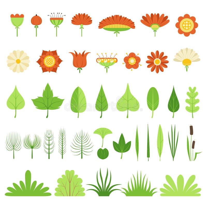 Stellen Sie von den Kräutern, von den Büschen, von den Blumen, von den Blättern und von den Schilfen ein Auch im corel abgehobene lizenzfreie abbildung