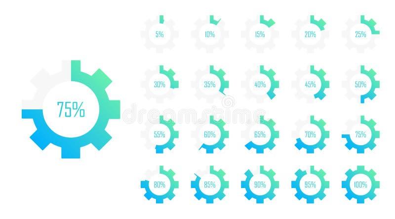 Stellen Sie von den Kreisprozentsatzdiagrammen von 0 bis 100 für Webdesign ein Flache Art der modernen Vektorillustration vektor abbildung