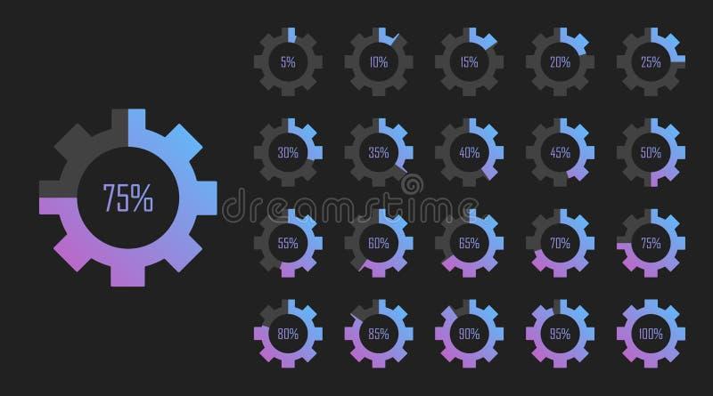 Stellen Sie von den Kreisprozentsatzdiagrammen von 0 bis 100 für Webdesign ein Ladevorgang Flache Art der modernen Vektorillustra stock abbildung
