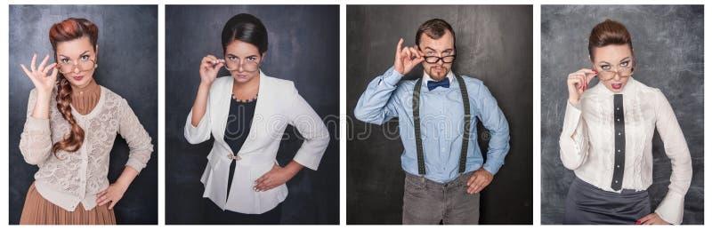 Stellen Sie von den Leuten in den Brillen ein, die Sie auf Tafel betrachten stockfoto