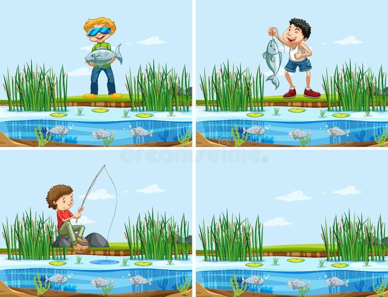 Stellen Sie von den Leuten ein, die einen Fisch fangen stock abbildung