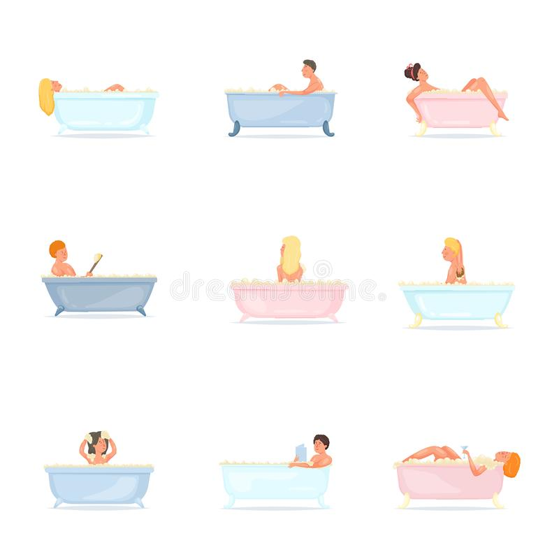 Stellen Sie von den Leuten nehmen Bad in der keramischen oder Plastikbadewanne ein stock abbildung