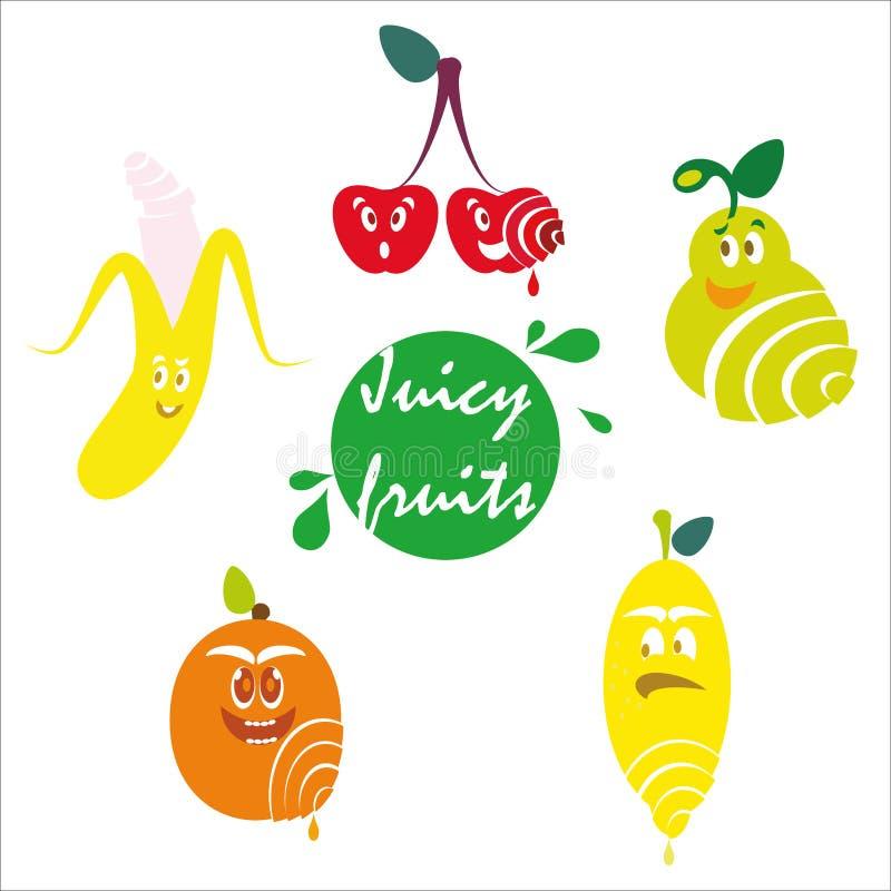 Stellen Sie von den lustigen Früchten, von der Zitrone, vom Pfirsich, von der Aprikose, vom Apfel, von der Birne, von der Banane  lizenzfreie abbildung