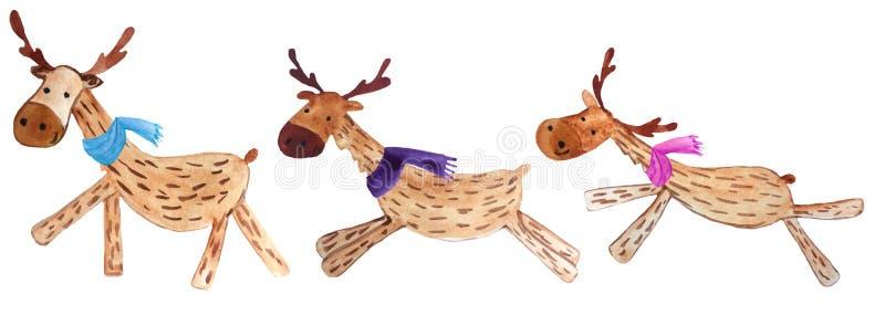 Stellen Sie von den lustigen Karikaturweihnachtsrotwild in den bunten Schals ein Aquarellillustration für Drucke und Plakate stockbilder