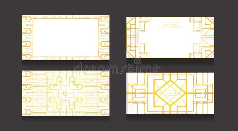Stellen Sie von den Luxuskarten mit einem Goldmuster in der Art- DecoArt auf einem weißen Hintergrund ein Doppelseitige Visitenka stock abbildung