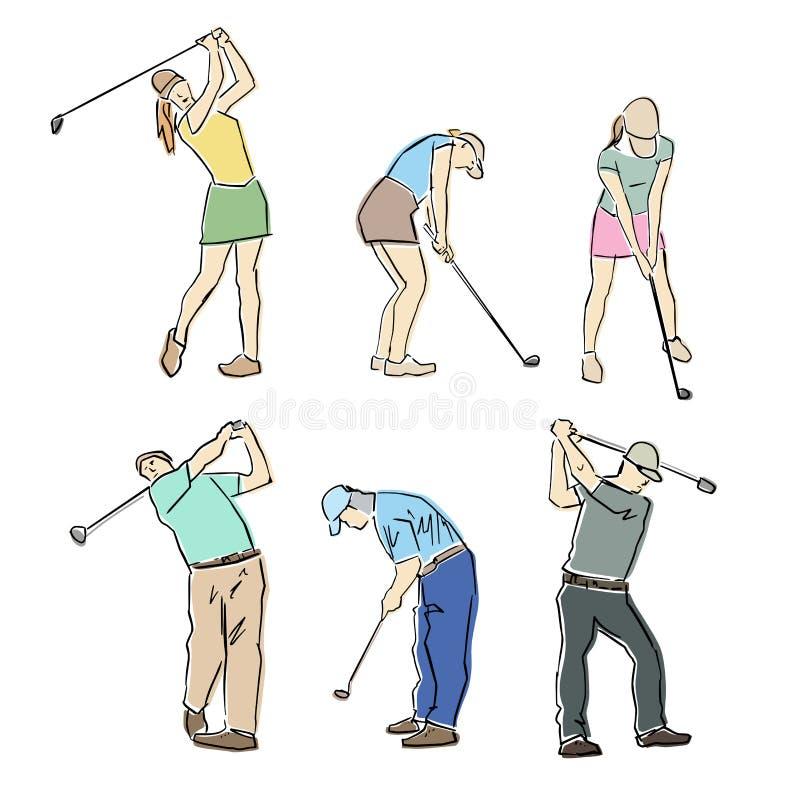 Stellen Sie von den m?nnlichen und weiblichen Golfspielern ein Flache Illustration des Vektors lizenzfreie abbildung