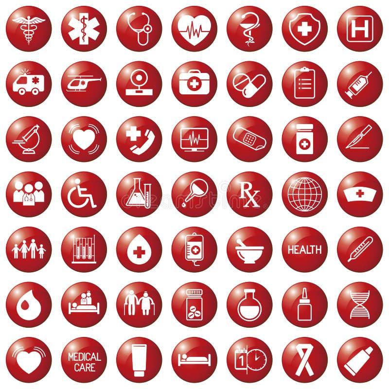 Stellen Sie von den medizinischen Ikonen auf kreisförmigen roten farbigen Knöpfen, Webdesignelementmedizin ein vektor abbildung