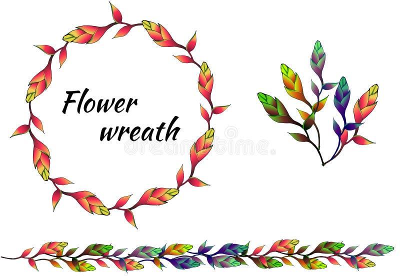Stellen Sie von den mehrfarbigen hellen Blumenmustern und von den Vektorkränzen ein stock abbildung