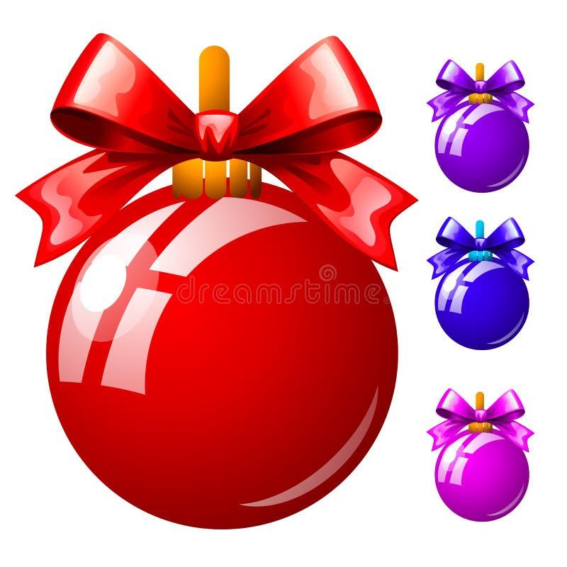 Stellen Sie von den mehrfarbigen Weihnachtsbällen mit Bowknots lokalisiert auf weißem Hintergrund ein Bunter festlicher Flitter S stock abbildung