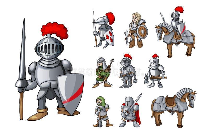 Stellen Sie von den mittelalterlichen Rittercharakteren ein, die in den verschiedenen Haltungen stehen, die auf Weiß lokalisiert  vektor abbildung