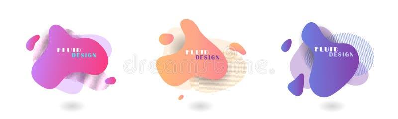 Stellen Sie von den modernen grafischen Elementen der Zusammenfassung ein Flüssige Farbabstrakte geometrische Formen entziehen Si vektor abbildung