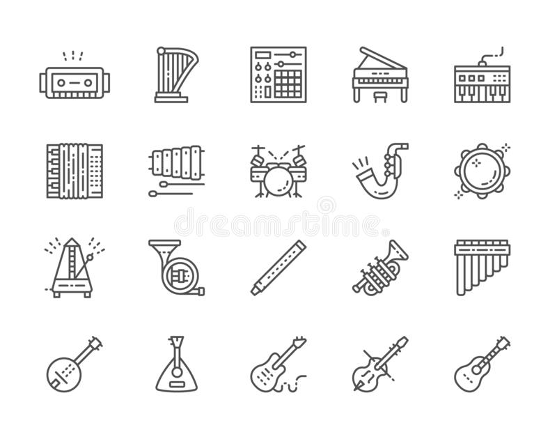 Stellen Sie von den Musikinstrumenten zeichnen Ikonen ein Klavier, Akkordeon, Violine, Gitarre und mehr lizenzfreie abbildung
