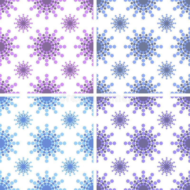 Stellen Sie von den nahtlosen Mustern des Rosas, hellblaue, blaue, purpurrote Schneeflocken auf weißem Hintergrund ein stock abbildung