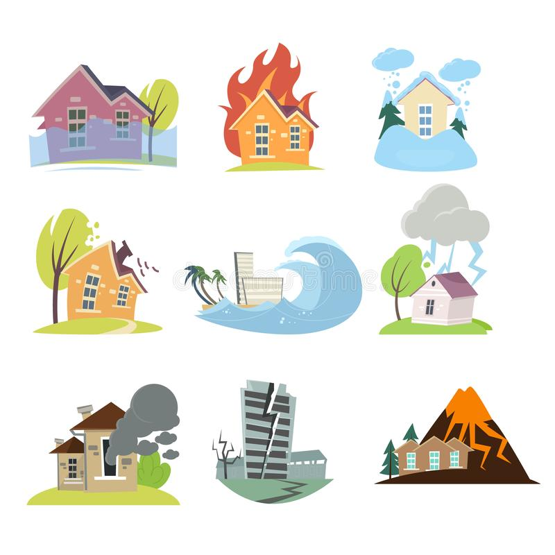 Stellen Sie von den Naturkatastrophen mit lokalisierten Zusammensetzungen im Freien von lebenden Häusern ein vektor abbildung